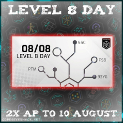 LEVEL 8 DAY: 2x AP from 8 AUG  to 10 AUG at 00:01 UTC!